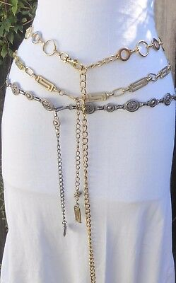 Three Skinny Vtg. Silver & Gold Tone Metal - Circle- Openwork-Greek-Chain Belts