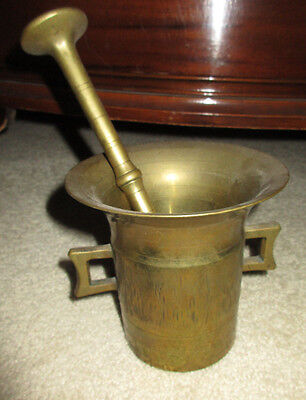 Solid Brass  # 6 Heavy Duty Mortar and Pestle Vintage Apothecary