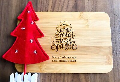 Personalised Engraved Gift Christmas Sparkle Mini Bamboo Serving/ Chopping Board