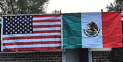 NEW American and Mexican Flag Set 3X5 USA Mexico Banner