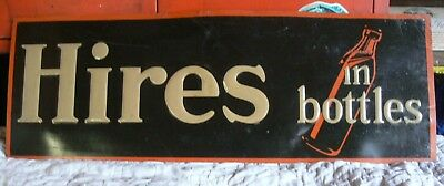 RARE Early Hires Root Beer Bottle Tin Sign 1930