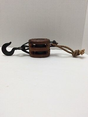 Vintage Double Block And Tackle Pulley Wood Large Iron Hook With Twine