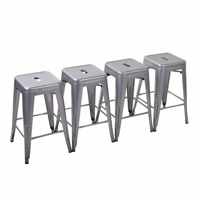 Superb Set Of 4 Bar Stools 26 Metal Steel Seat Chair Barstool Unemploymentrelief Wooden Chair Designs For Living Room Unemploymentrelieforg
