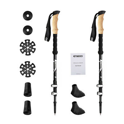 Enkeeo 100% Carbon Fiber Trekking Pole With 3-Section Telescopic For Hiking