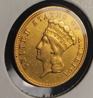 1854 Coronet Head $3 Three Dollar Gold Piece. From MS type Gold Set
