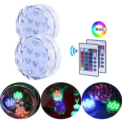 Submersible Pool LED light Waterproof Colorful Swimming SPA/BATH Battery Remote