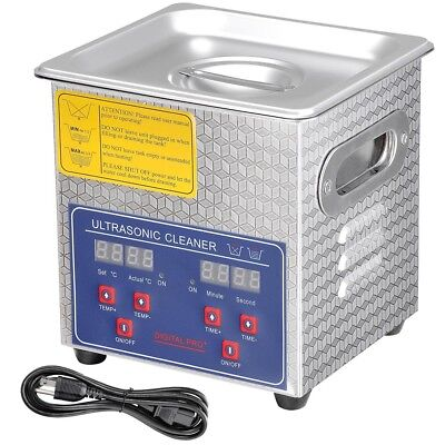 2L Stainless Steel Commercial Ultrasonic Cleaner w/ Timer Heater Jewelry Watch