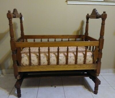 Antique Wooden Baby Cradle Late 1800's