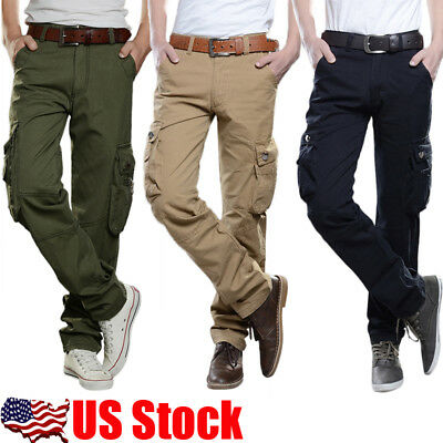 USA Mens Casual Military Army Cargo Camo Tactical Combat Work Pants Trousers #01