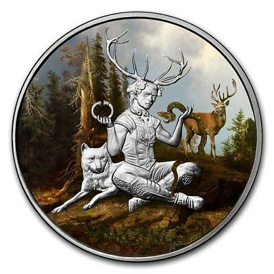 Celtic Lore Series - Cernunnos 1 oz .999 Silver Colorized Proof Round USA Coin