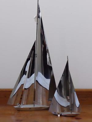 Vintage Art Deco Chrome Sailboats Yachts - 16inch Tall and 8 inch