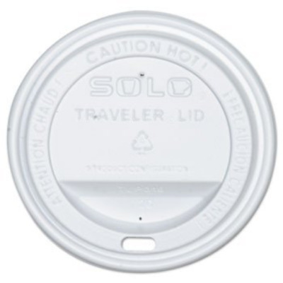 SOLO Cup White Traveler Drink-Thru Lid 100ct - Fits 10, 12, 16, 20, 24oz Solo -