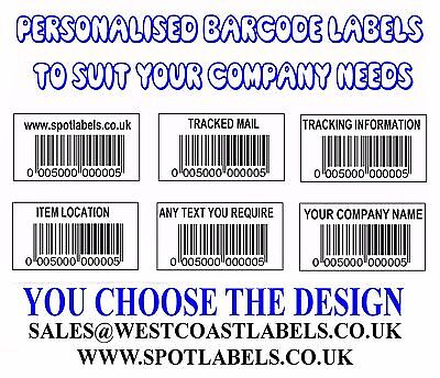 Barcode Number Personalised Company Sticky Labels On Rolls 50x25 SEQUENTIAL