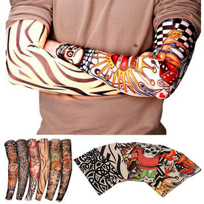 Unisex Elastic Fake Temporary Tattoo Sleeve Designs Body Arm Stockings 6 Designs