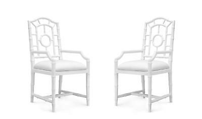 Bungalow 5 Chloe Traditional White Lacquered Mahogany Chippendale Armchair 2Pcs