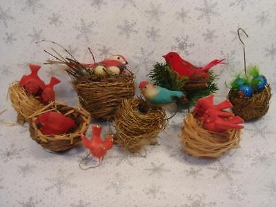 Lot Of 7  Vintage Christmas Decorations Spun Cotton And Flocked  Birds In Nests