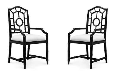 Bungalow 5 Chloe Traditional Black Lacquered Mahogany Chippendale Armchair 4Pcs
