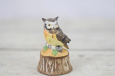 Porcelain Bisque Owl Woodland Owl Bell Perched On Wood Stump
