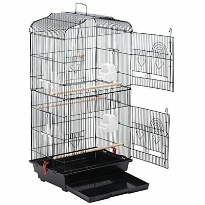 Large Metal Bird Cage Budgie Parrot Canary Cockatiel 18x14x36 Black
