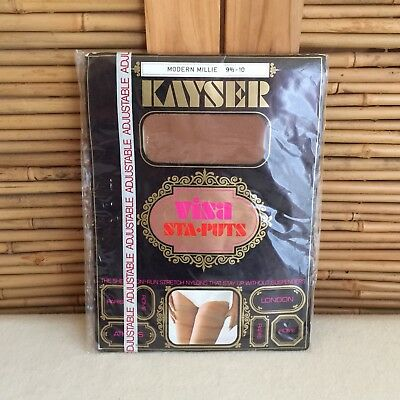 Vintage 60s KAYSER Stay-Puts ADJUSTABLE Non RUN Stretch STAY UP Stockings 9.5/10