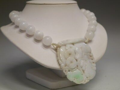 Fine Vintage Chinese Necklace W/ Carved Jade Pendant & Snow Quartz Beads,
