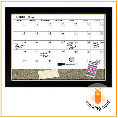 MAGNETIC DRY ERASE CALENDAR Cork Board Wall Monthly Time Planner Whiteboard