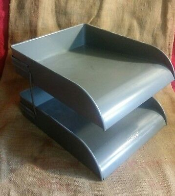 Vintage Globe Wernicke Metal 2 Tier Gray Desk Top In/out Paper Holder Tray Lot A
