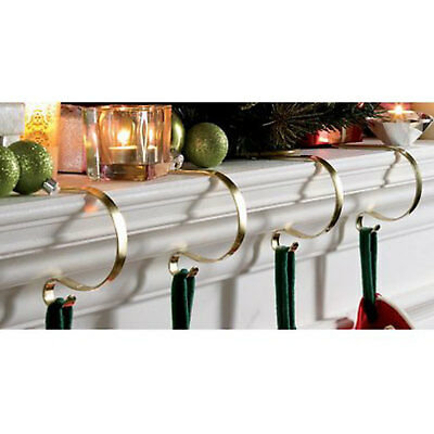 4 Brass CHRISTMAS STOCKING HOOKS Fireplace Hanger Mantel Clips  SECONDS