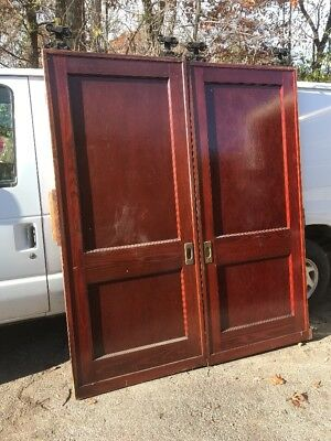 CM match Pair antique pine two panel pocket doors 72 x 84