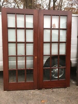 Cm 99 Match Pair Antique Flat Glass Pine French Doors 6 Foot