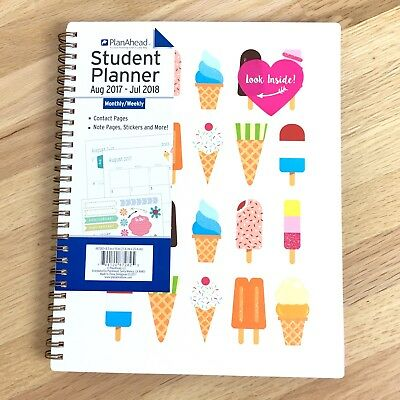 """Plan Ahead Student Planner Full Size July 2017-Aug 2018 Ice Cream 8.5"""" x 10"""" NEW"""