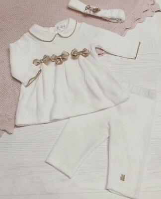 Spanish Style Baby Girls Quilted Dress Traditional - Ivory & Gold  with headband