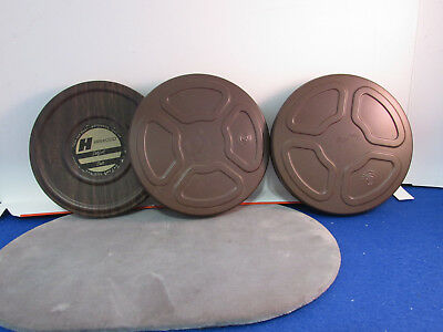"""Lot of 3 Vintage ~ 5"""" Metal 8mm Film Reel Cans (2 are empty) and 1 with Reel"""