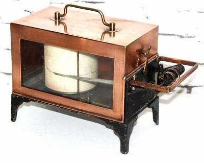"""Vintage """"EDNEY"""" Copper Cased Barometer Thermograph c1940 - FREE Shipping [P4053]"""