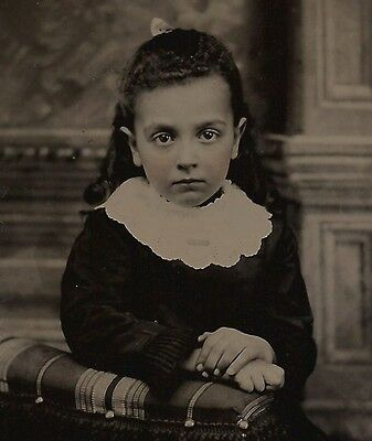 OLD VINTAGE ANTIQUE TINTYPE PHOTO PRETTY YOUNG GIRL w/ BIG EYES