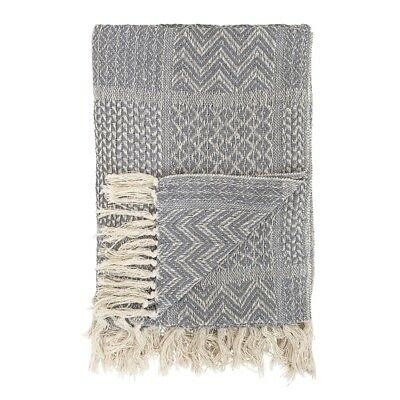 Bloomingville Decke Zick Zack Karo grau creme Baumwolle Plaid Wolldecke Throw