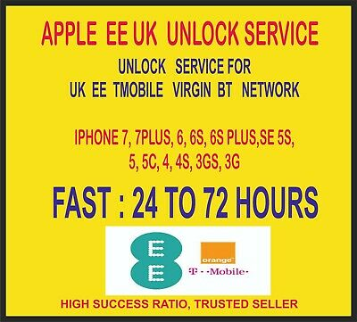 Ee Uk Apple Iphone Unlock Service For 7 7Plus Se 6 6S 6S-Plus 5 5S 5C 4S 4 3 3Gs