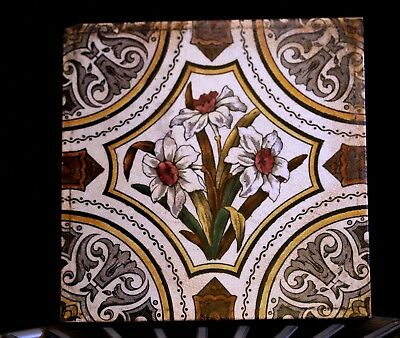 One Victorian Ceramic Tile Daffodil Design