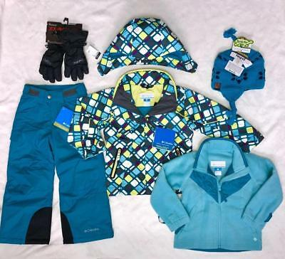 NEW COLUMBIA Girls 3 in 1 Bugaboo Jacket & Ski/Snow Pants Hat, Gloves 4/5, 6/6X