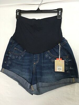 A Glow Maternity Boyfriend Blue Jean Shorts Size 14 Embroidered Full Panel NWT