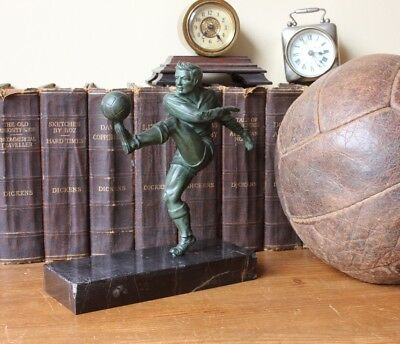 Art Deco Bronzed Footballer Statue. Vintage Figure of Soccer Player & Football.