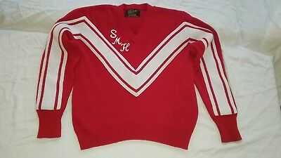 """Vintage Red Cheerleader Sweater """"SMH"""" size L"""