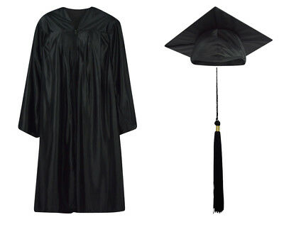 Black Shiny Graduation Cap Gown and Tassel - 13 sizes available
