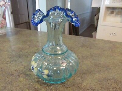 Fenton Signed D Hill Hand Painted Bud Vase Blue Flowers Satin
