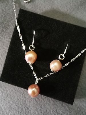 Freshwater Pearl Sterling Silver Necklace & Earrings 925 stamp Handmade in Kent
