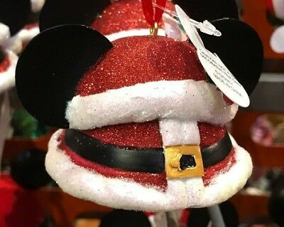 Disney Parks Mickey Mouse Santa Christmas Ears Ornament NEW WITH TAGS 2017