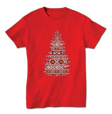McDonalds Christmas Tree Red Shirt for Crew or Fans of Micky D's Size: Small