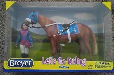 Lets Go Riding - Racing Set #1727 Rider and Tack Traditional Model Horse Breyer