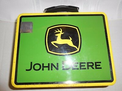 VINTAGE John Deere Tin Lunch Box WITH AUTHENTICATE STICKER WITH BLACK AND YELLOW