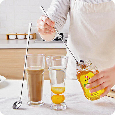 Stainless Steel Long Coffee Drink Spoon Tableware Kitchen Supplies Hanging cups